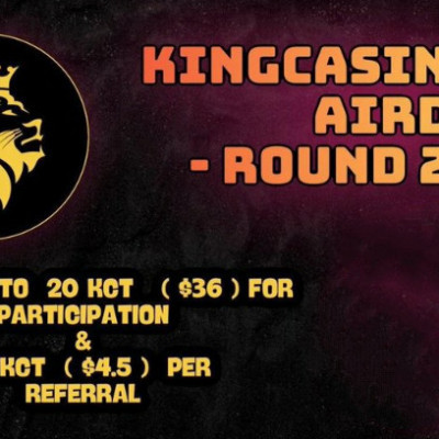 ➡️ Kingcasino Airdrop R2 ⬅️  Reward : 20 KCT Referral : 2.5 KCT  Link : https://t.me/KingcasinoRound2AirdropBot?start=307806456  + Register on web + Complete other task + Submit details  Done