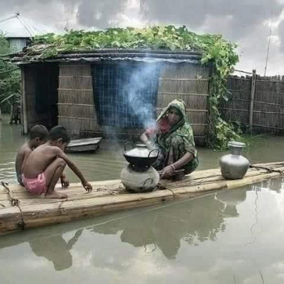 Some people of Asashuni Thana Rajapur village of Satkhira district see the family living inhumanely. The environment is such that the house will be filled with water and their two sons and daughters will cook and feed them. We see such an environment here.  The Romans will have no end