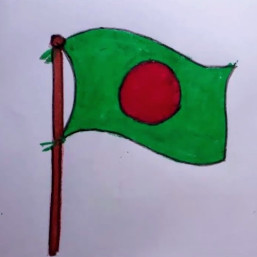 The picture shows a flag.  This is the flag of Rangladesh. It is the flag of an independent country. We fought for 9 months in 1971 and got our freedom in exchange for about 3 million martyrs. The color of this flag is red and green. The flag is the symbol of our country.  This is the symbol of the blood of the martyrs. And the color green is the symbol of our nature. The picture is a hand-painted picture. This is a picture painted by my sister's hand.  Fighting against the Pakistani invaders and snatching it in exchange for blood. So everyone loves this country and its flag.