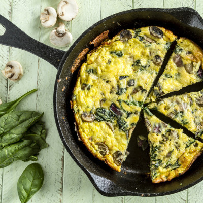 "New York chef David Shim often makes a frittata when he needs to use up leftover ingredients. David Shim, the chef at Cote in Manhattan, told Insider that he loves cooking frittatas when he needs to use up leftover ingredients at home.  ""There might be half an onion, a few peeled garlic cloves, some spinach,"" he said. ""You can mix meat, something that's leftover from the night before or that you have in your fridge. I always use bacon and spinach, that's my go-to.""  ""Sauté them in a pan, put in five to six eggs, and let it bake in the oven. It's a quick 15 to 20 minutes, and you can save some for the next day."""