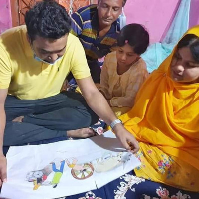 Tamanna Noora, an indomitable genius of Alipur village, Bakra union of Jhikargachha upazila of Jessore;  He has not had two arms or one leg since birth. He has also got GPA-Five from PEC, JSC and SSC by writing with one leg.   Raushan Ali and Khadija Parveen, the eldest of the couple's three children, had a strong interest in education and great talent.   The girl is also disappointing her parents, not at all, Durbar is going ahead by overcoming all the obstacles and leaving the signature of the highest merit.  Oh, our desire is to write beautiful as well as great pictures.   Today I went to their house to see Tamanna.  Due to the outbreak of corona and ampoules in the area, they are not feeling well during this time of disaster.   As a gift of love from Desaratna Sheikh Hasina, I have brought food items for Tamanna's family for about three months, Rs 5,000 in cash, two saris and lungi and clothes for my younger siblings.   It is to be mentioned that at my request, UP Chairman Mintu Bhai and Upazila Chairman Monir Bhai have cut down the bushes and made a 1.5 km road from the main road to the house for the convenience of school travel.   Earlier, Tamanna also got a disaster-tolerant house from Deshratna Sheikh Hasina under the T-R-Kabita program.   Inshallah, I will be by Tamanna's family in any need in the future as well.