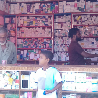 this picture is of the drug store.  This shop is a brother drug store.  Medicines for various ailments are available in the shop and this shop is located in the market of Dhulihar Bazar in Satkhira district of Bangladesh.  A well-known drug store in the market, Yunus Bhai Drug Store, offers medicines for all types of ailments.  Its stores are sold at low prices and it is a high quality store selling any kind of medicine in this store.  No, this shop has a lot of reputable stores, any medicine is available in this store, any animal medicine is available in this shop with cow medicine, and these medicines are sold in this shop at low prices.