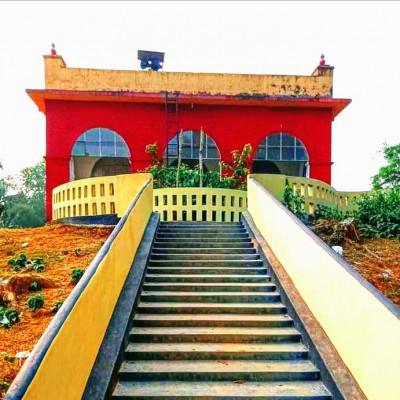 Here is a picture of a mosque. It is taken from Daodhara village of Nalitabari police station of Sherpur district. The mosque is very beautiful to look at. The mosque is made of a mixture of red and yellow and yellow colors.  There are three entrances to enter. There is a beautiful flower garden in front of the mosque. It is a religious place. There is no difference between rich and poor. Religious Muslims pray here every day. When people go to the mosque, they forget all hatred.