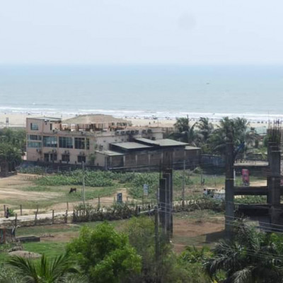 The picture shows a beautiful house. The houses are built on the banks of a beautiful river.  It is very beautiful to see. Another house is being built here.  The picture shows a huge beach. There are many plants on the beach.  And houses have been built in these plants.  It looks so beautiful.