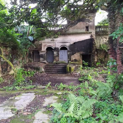 This picture shows an old house. This house is very old and there are different types of plants in front of this house and there is a road in front of this house.  This house looks very beautiful as the people of the previous period used to live in this house