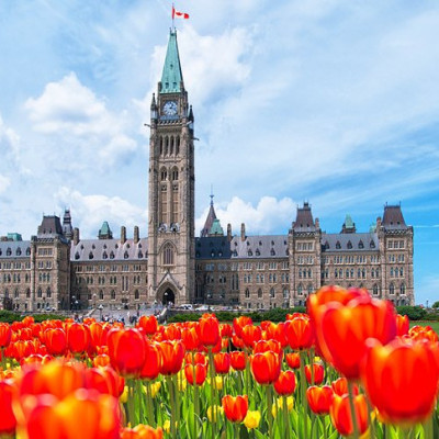 The nation's capital offers a wealth of sights all year long. Watch locals skating down the Rideau Canal in winter, explore the city center, and in spring, don't miss the city's colorful Tulip Festival. Seas of bright flowers provide the perfect foreground for shots of the Parliament Buildings and the Peace Tower.