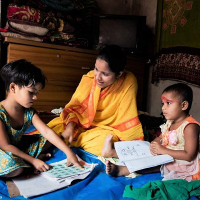 Lockdown is going on in all parts of Bangladesh due to the infection of Karna virus. The children are lagging behind in education. Here you can see the scene where a mother is teaching her children to write inside the house.She is an ideal mother of Gobindkati village of Kalaroa police station in Satkhira Sadar