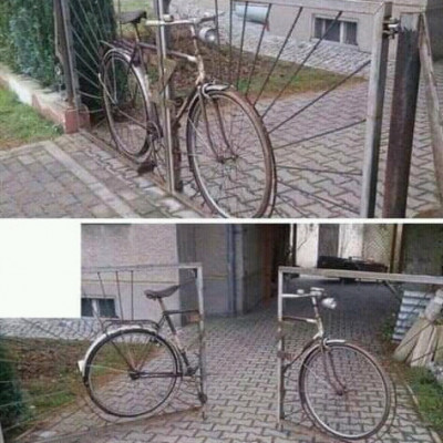There is a strange and ridiculous thing in front of the gate of this house because it is shaped like a bicycle in front of the gate of this house and will be updated when the door of the house is opened. In fact, such environments are very beautiful and they are very intelligent and happy.