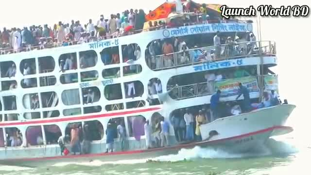 A ship with a lot of passengers is running over the Meghna river