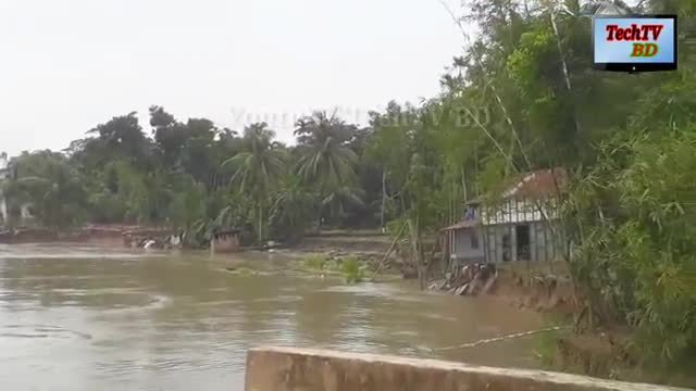 The huge house on the bank of the river in Shariatpur collapsed and fell into the river