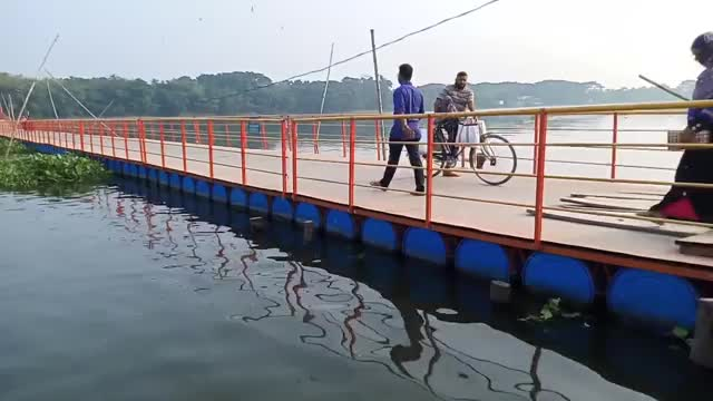 Jessore Monirampur floating bridge view,Bangladesh