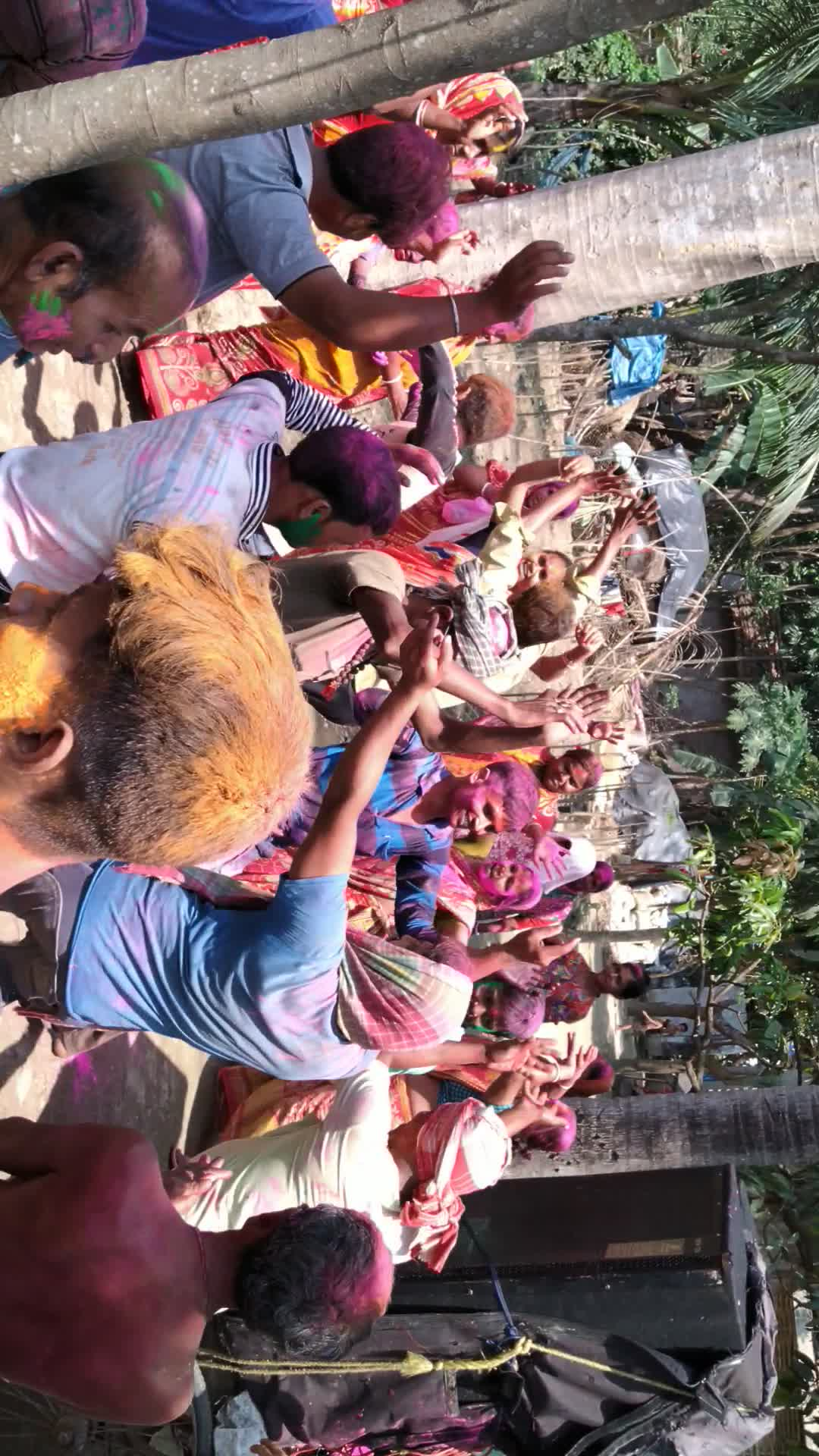 The video you are watching is a big festival of Hindus. The name of the festival is Holi. We celebrate it every year. We get everyone together through dance-song and color.