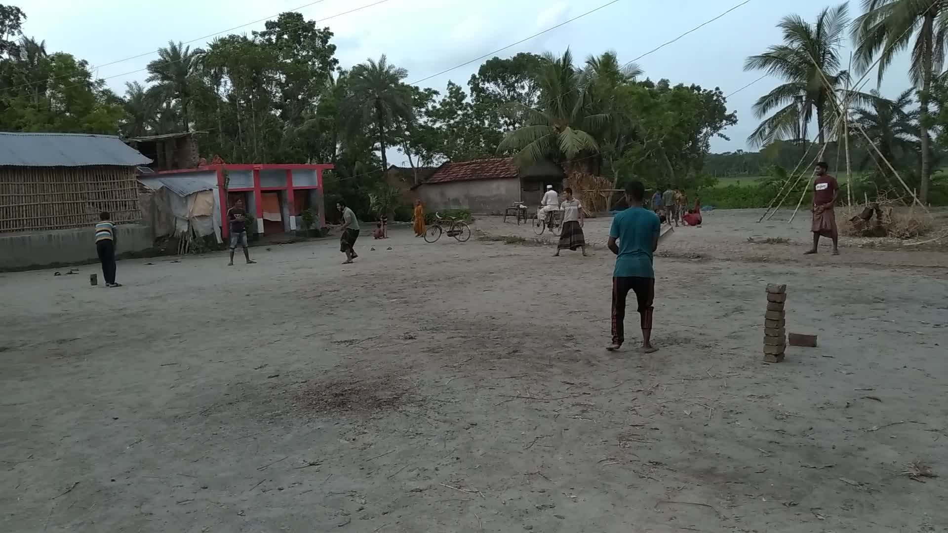 boys from the village are seen playing cricket