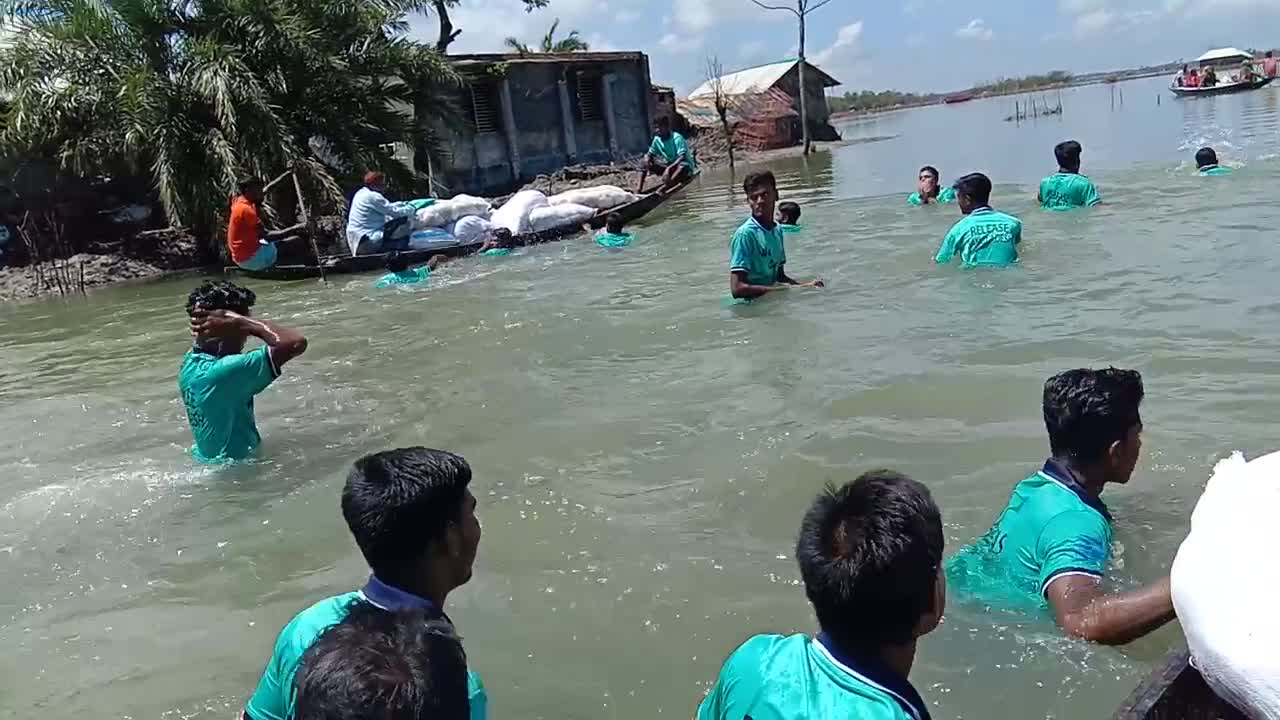 Kalimakhali, Asashuni Upazila, flood affected areas.
