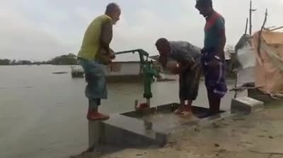 A tubewell has been constructed for the people in the flood-hit areas.