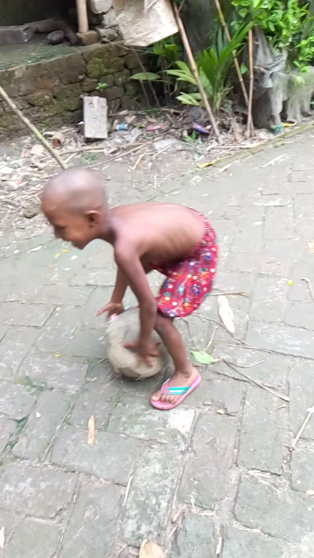Playing football in the village