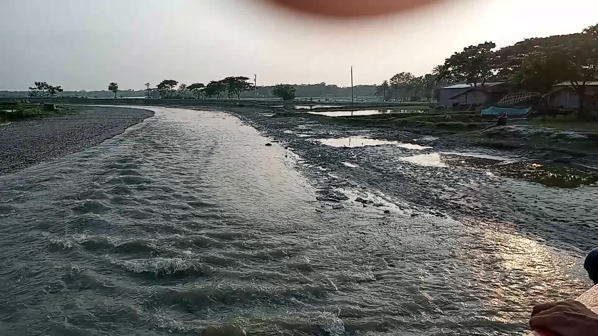The water of the river is playing beautiful waves.