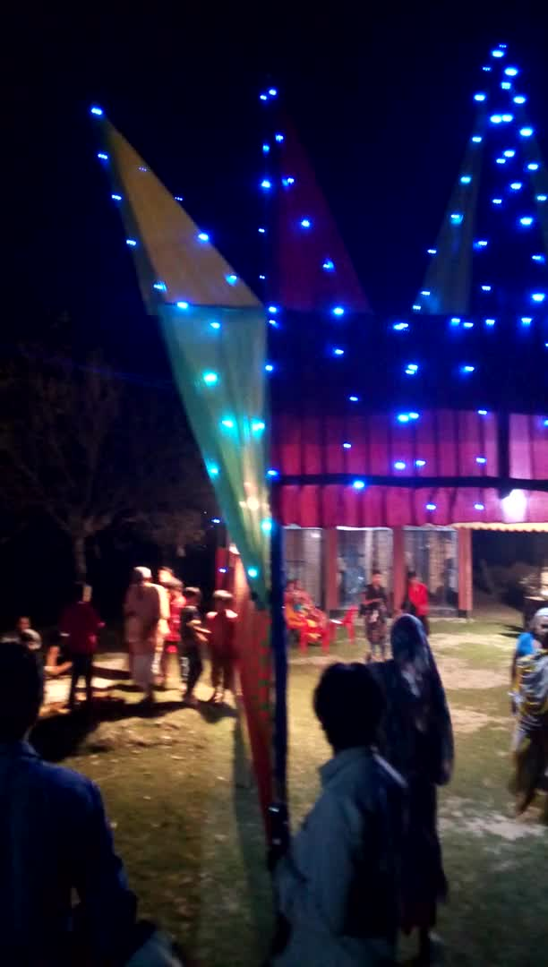 View of the puja mandapa on the occasion of Kali Puja.