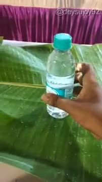 Video of everyone sitting together on a banana leaf and eating together.