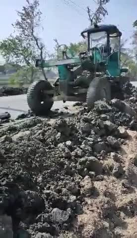 Video of the road being rebuilt by car.