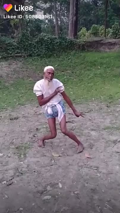 An old uncle is dancing beautifully