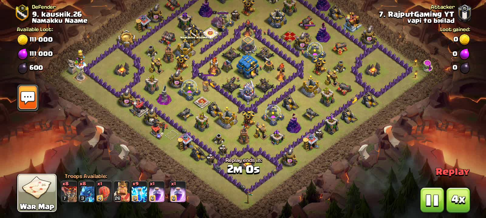Hello friends how are you all hope all is well, Free fire Challenge For War Attck  Vabi to bhaild vs Namakku Naame  Guild Leval 15 vs 11 My Choice 9 Number  Kaushik Vs Rajputgaming YT I will atcck kaushik Win 3 Star Live Watch Clash of clans War Challenge Enjoy The game  If you playing clash of clan watching full video you can understand So Guyas If you like my video plz share your Friend