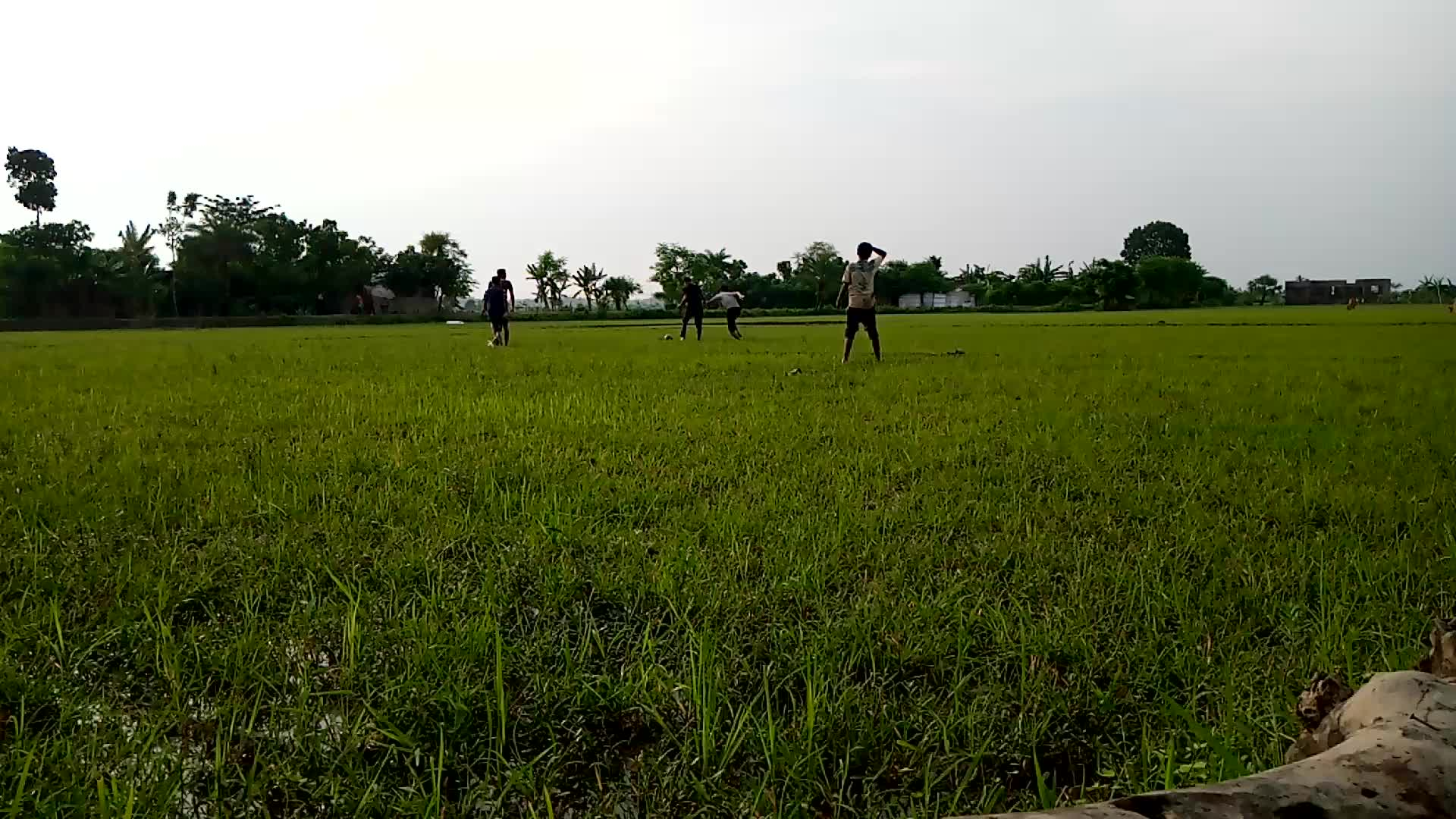Playing football in a rural environment