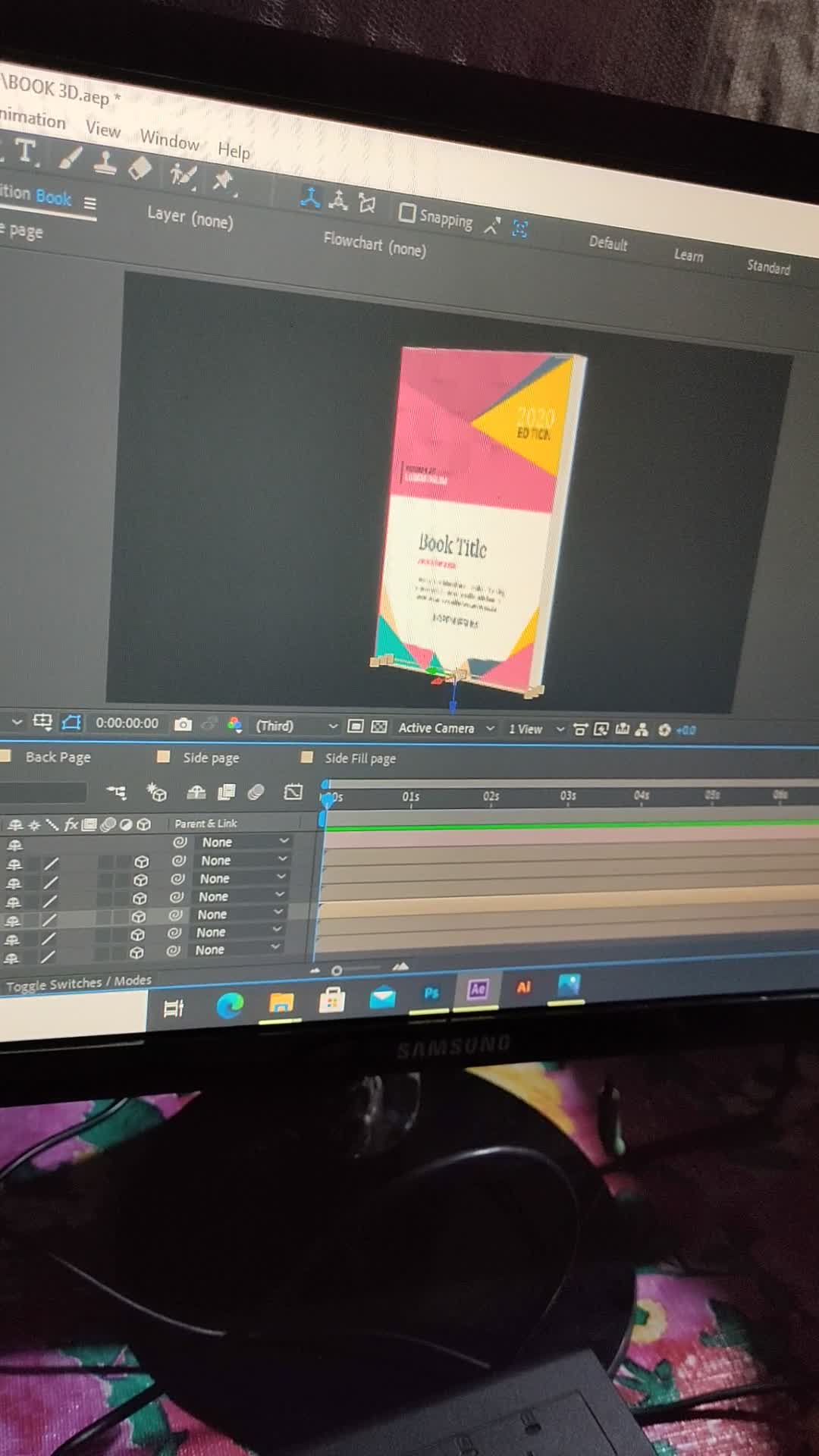 Video of a book design class in Adobe after effect