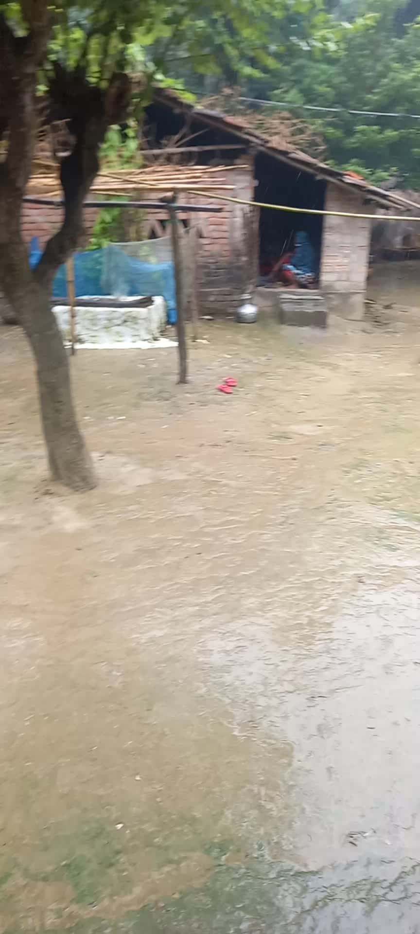 There is a lot of rain in the countryside.
