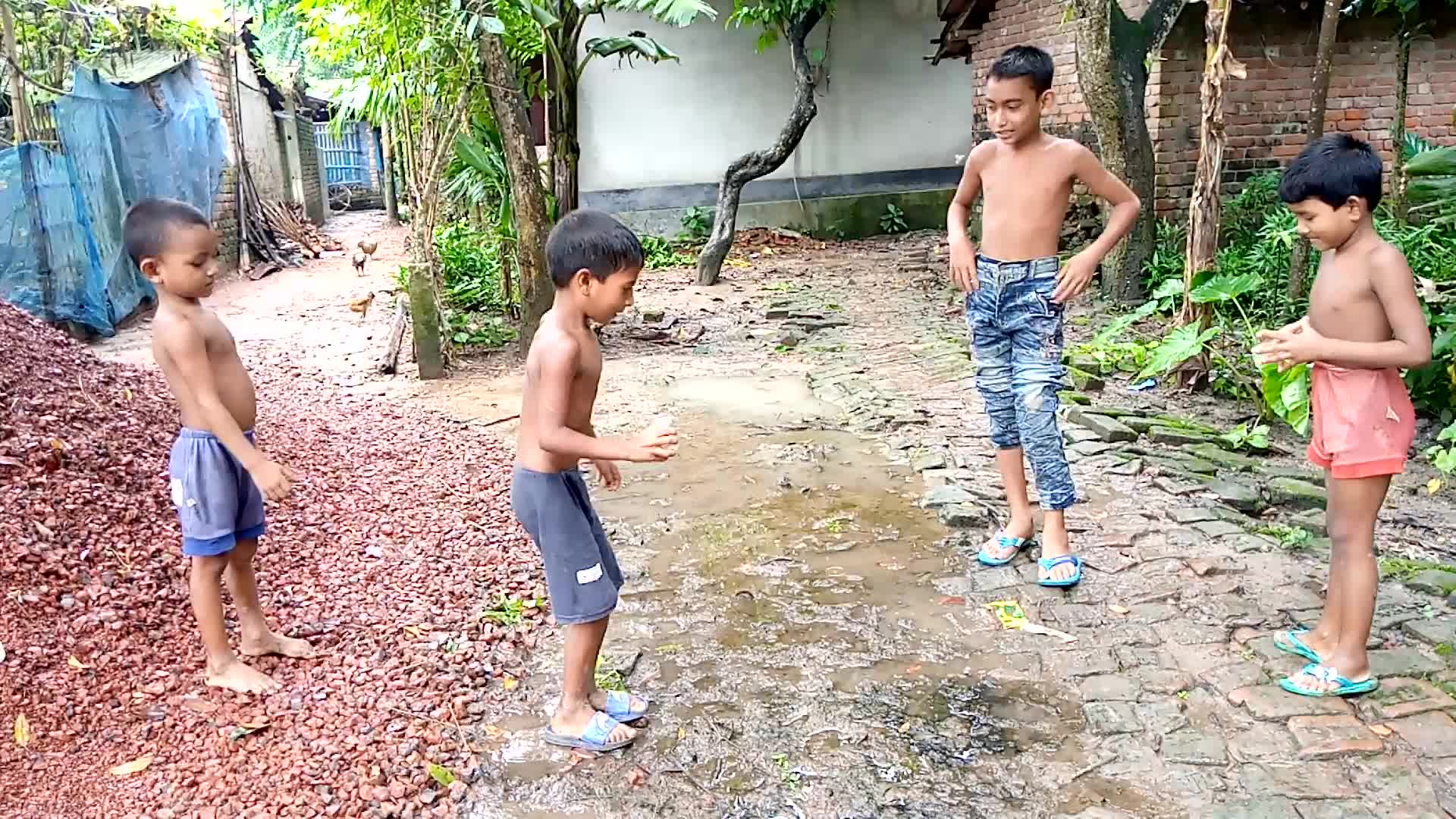 Scenes of children jumping in a rural environment