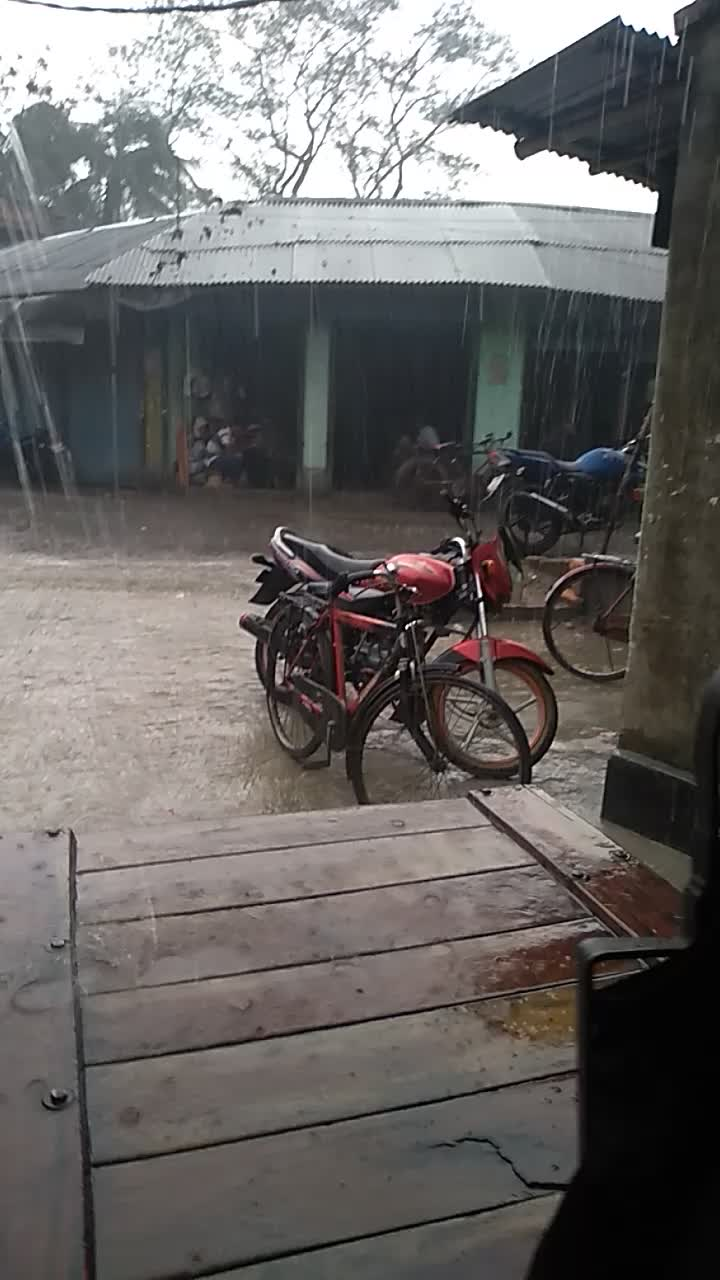 A video of it raining heavily