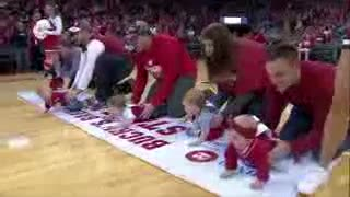 Wisconsin basketball  half time baby race.